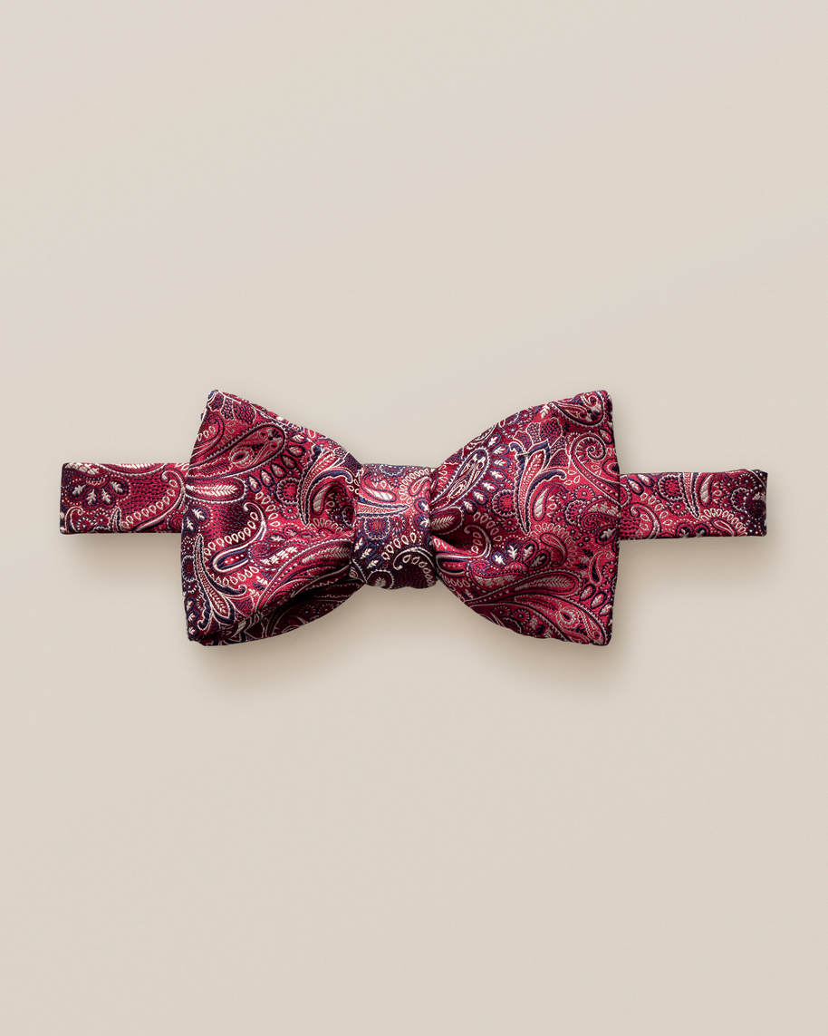 Red & Dark Blue Paisley Bow Tie – Self-Tied