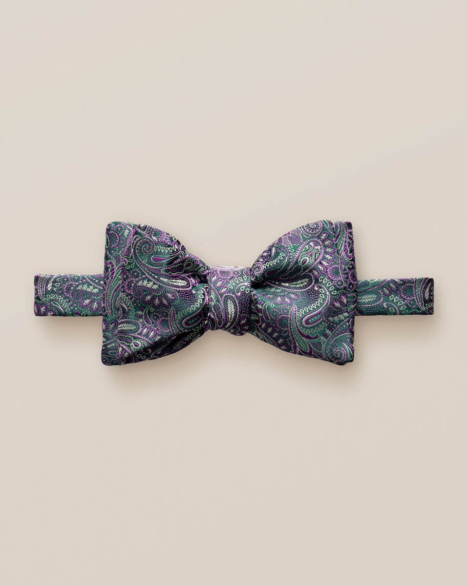 Green & Purple Paisley Bow Tie – Self-Tied