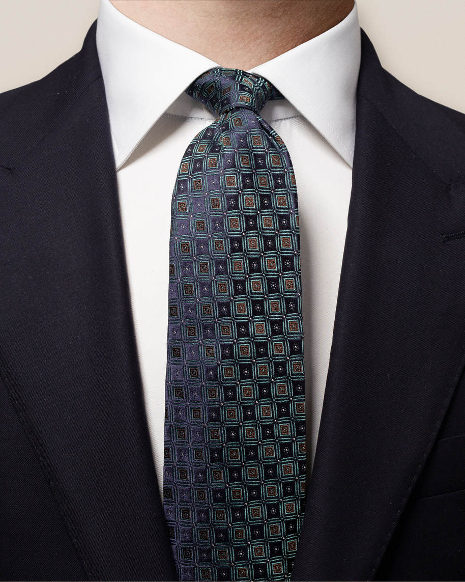 Blue Checked Silk Tie