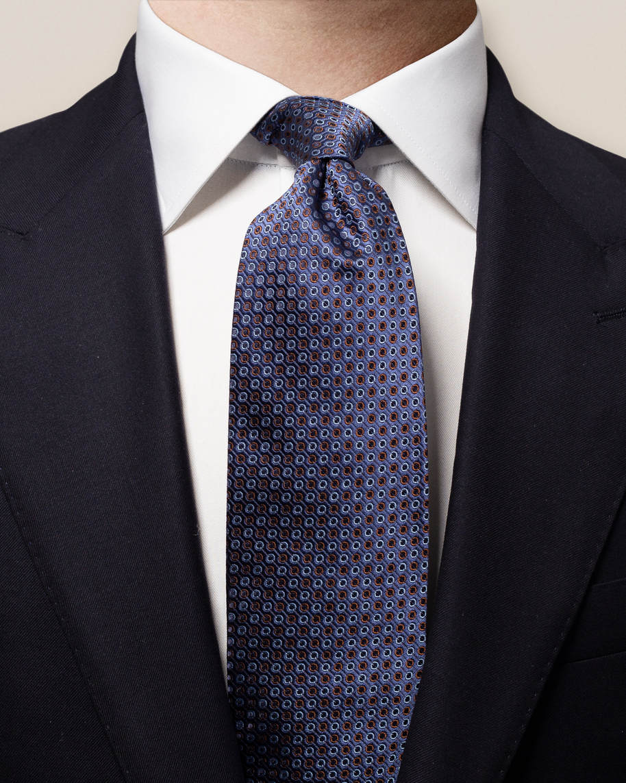Orange & Blue Dots Silk Tie