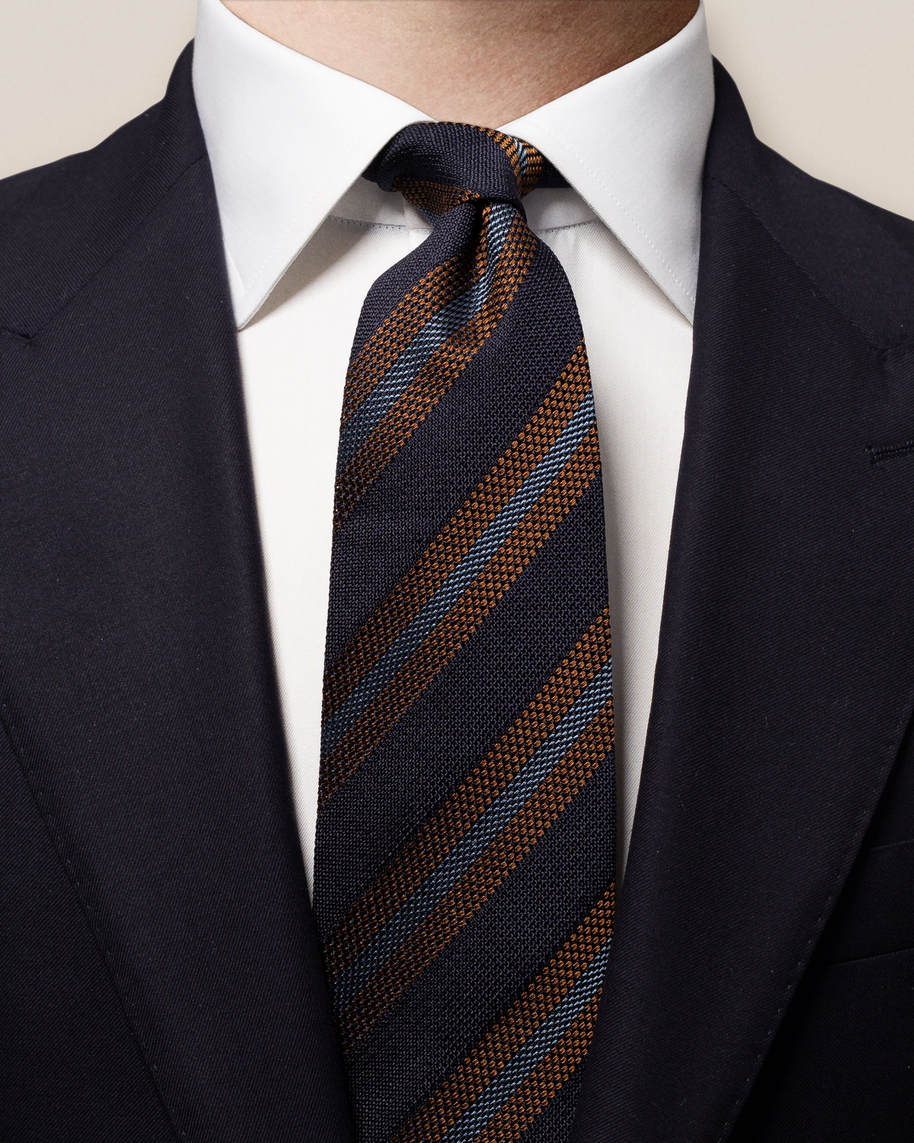 Dark Blue Striped SIlk Tie