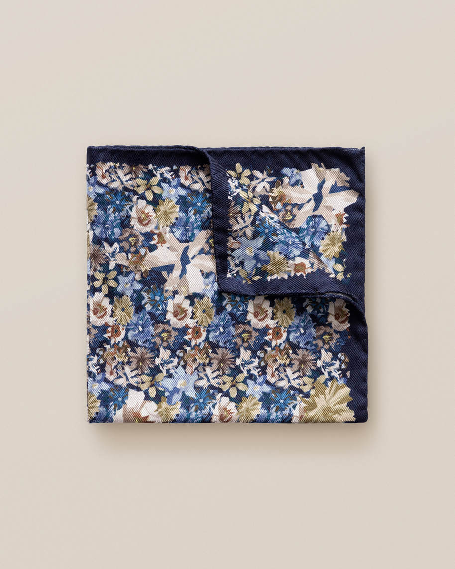 Blue & Beige Floral Pocket Square