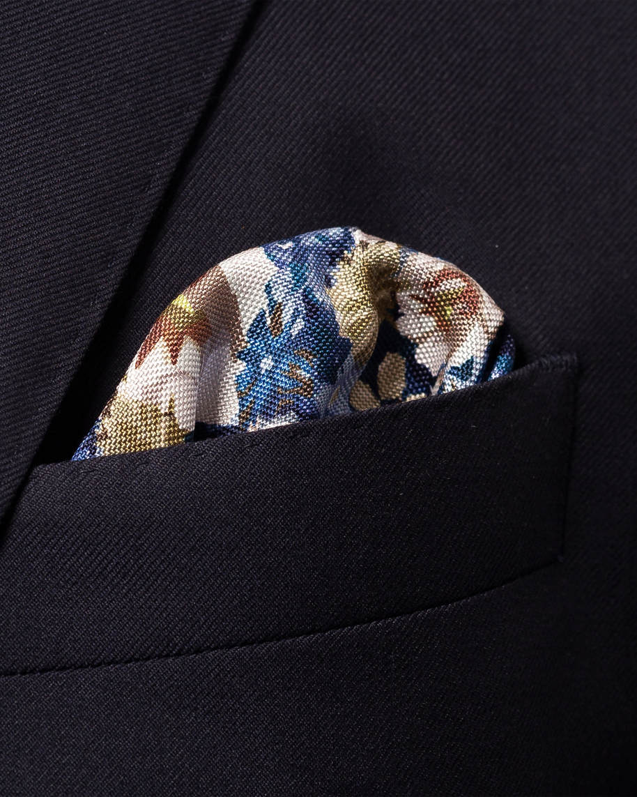Blue & Beige Floral Pocket Square - image 2