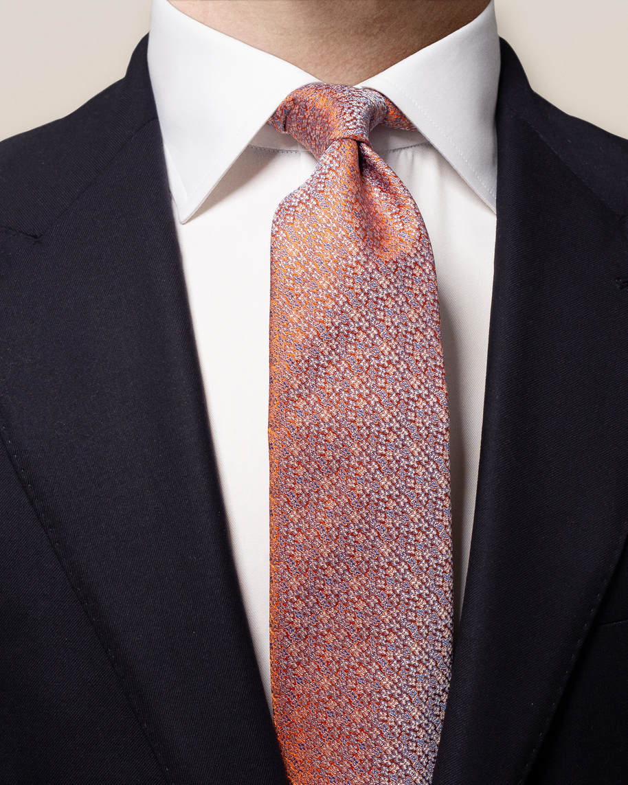 Orange Micro Floral Silk Tie - image 1