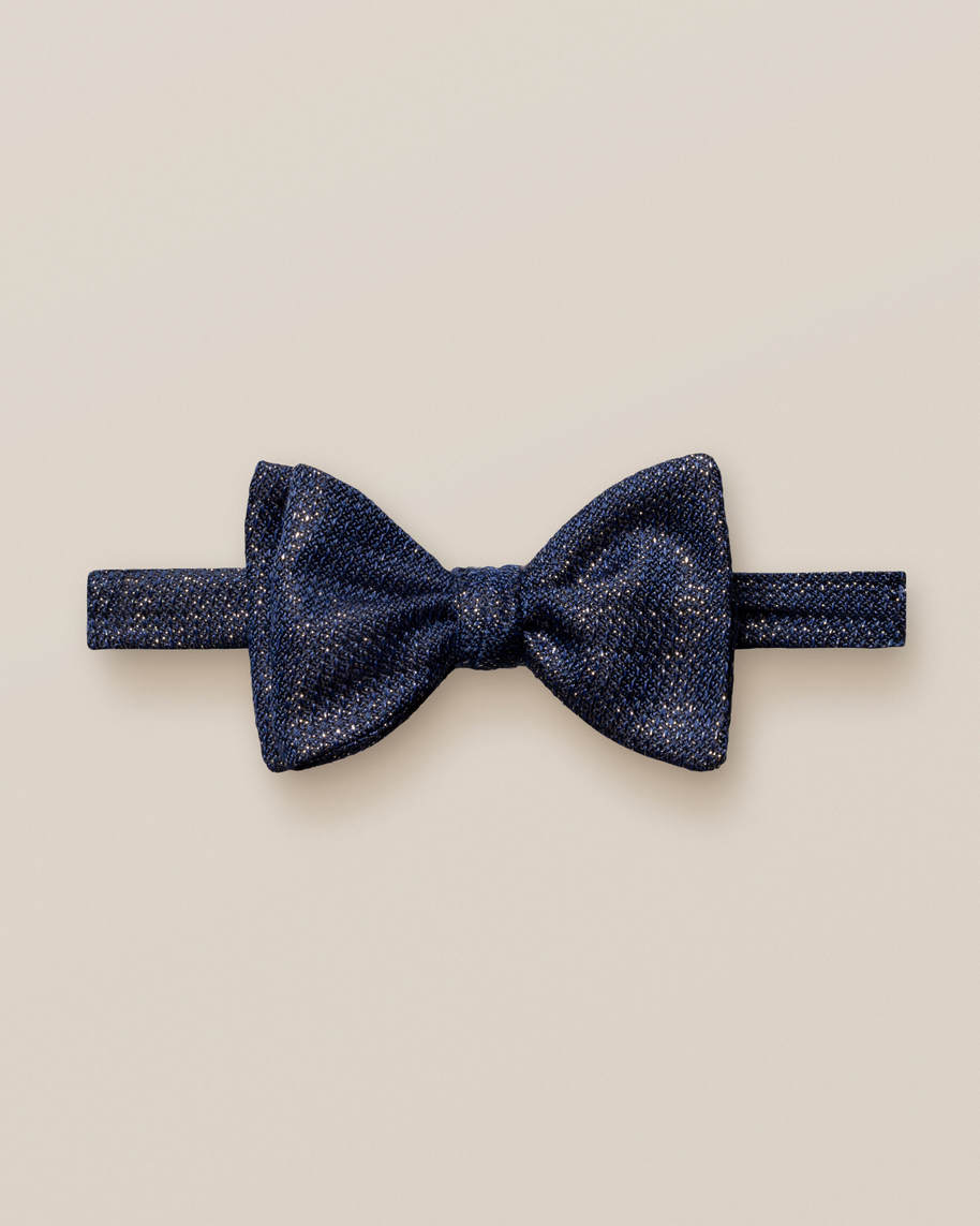 Blue Shimmer Silk Blend Bow Tie – Ready Tied