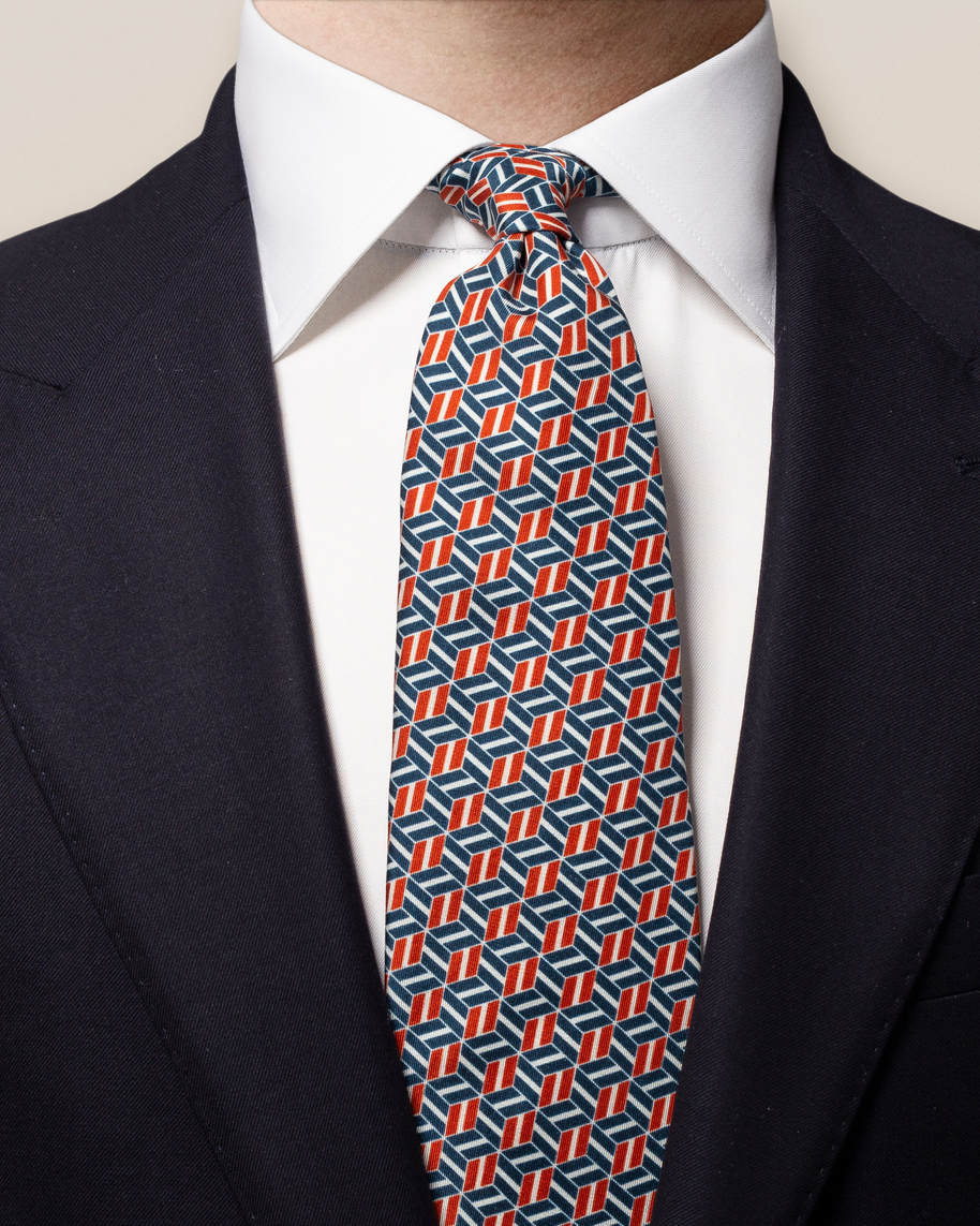 Blue Patterned Silk Tie - image 1
