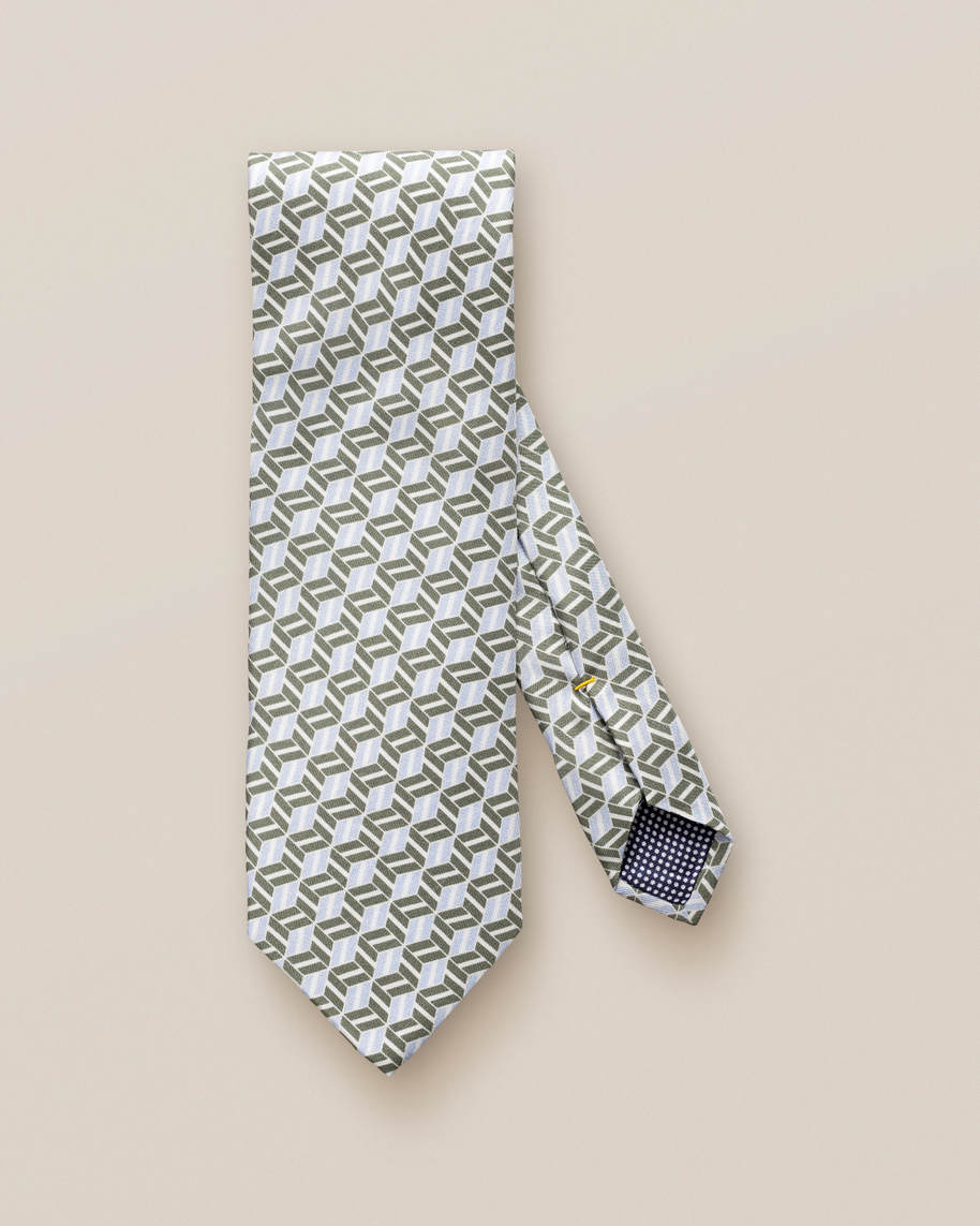 Green Patterned Silk Tie - image 2
