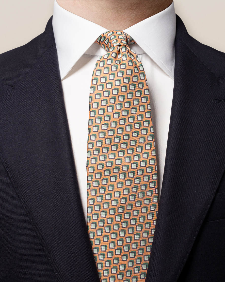 Red Patterned Silk Tie - image 1