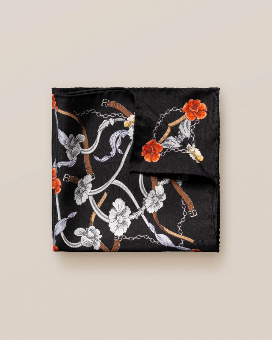 Black Flowers and Belts Silk Pocket Square