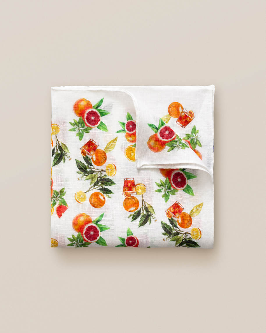White Oranges Print Linen Pocket Square