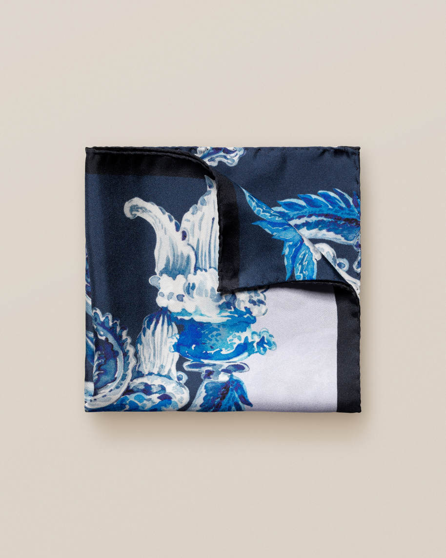 Blue Chandelier Print Silk Pocket Square