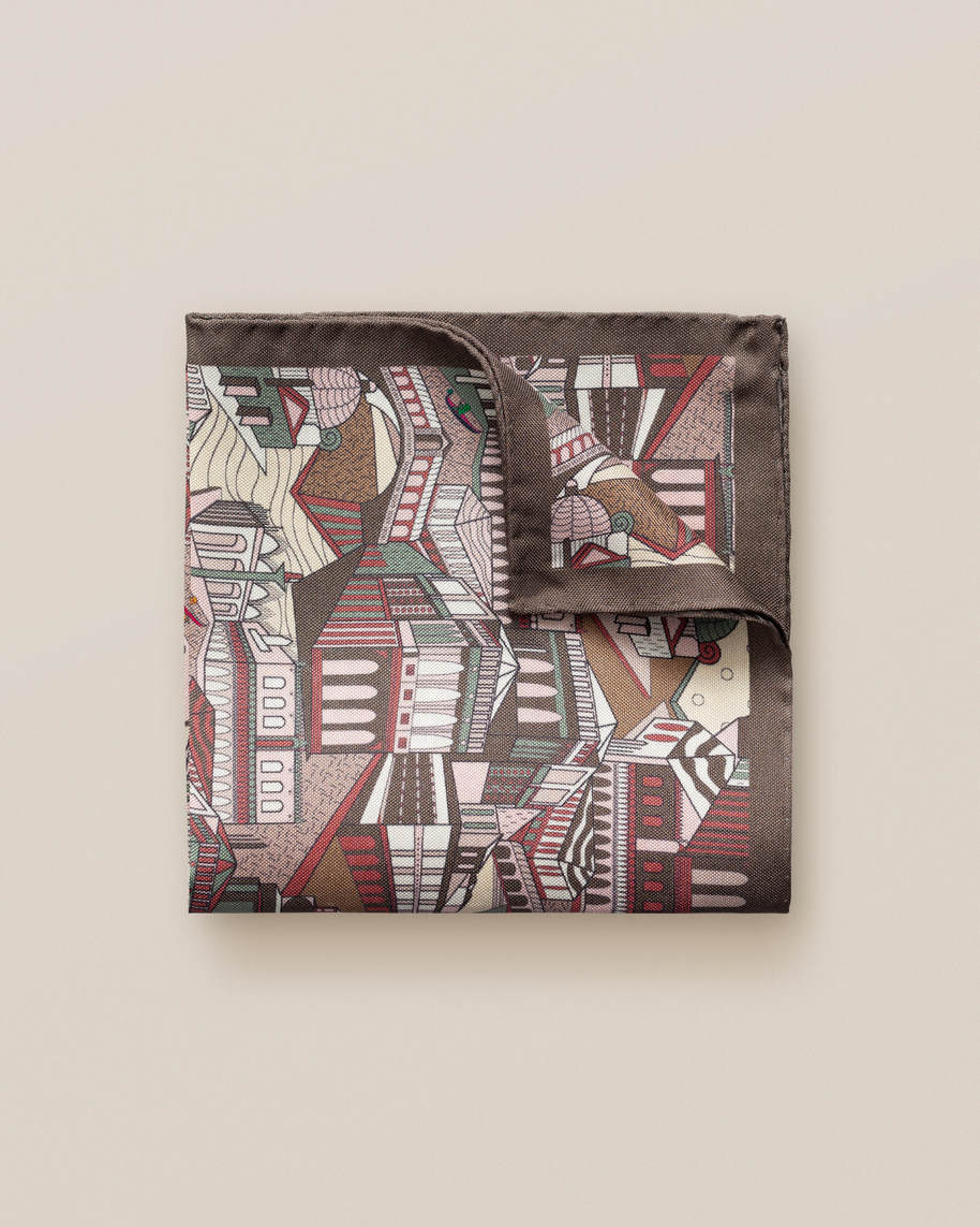 Brown City Print Silk Pocket Square