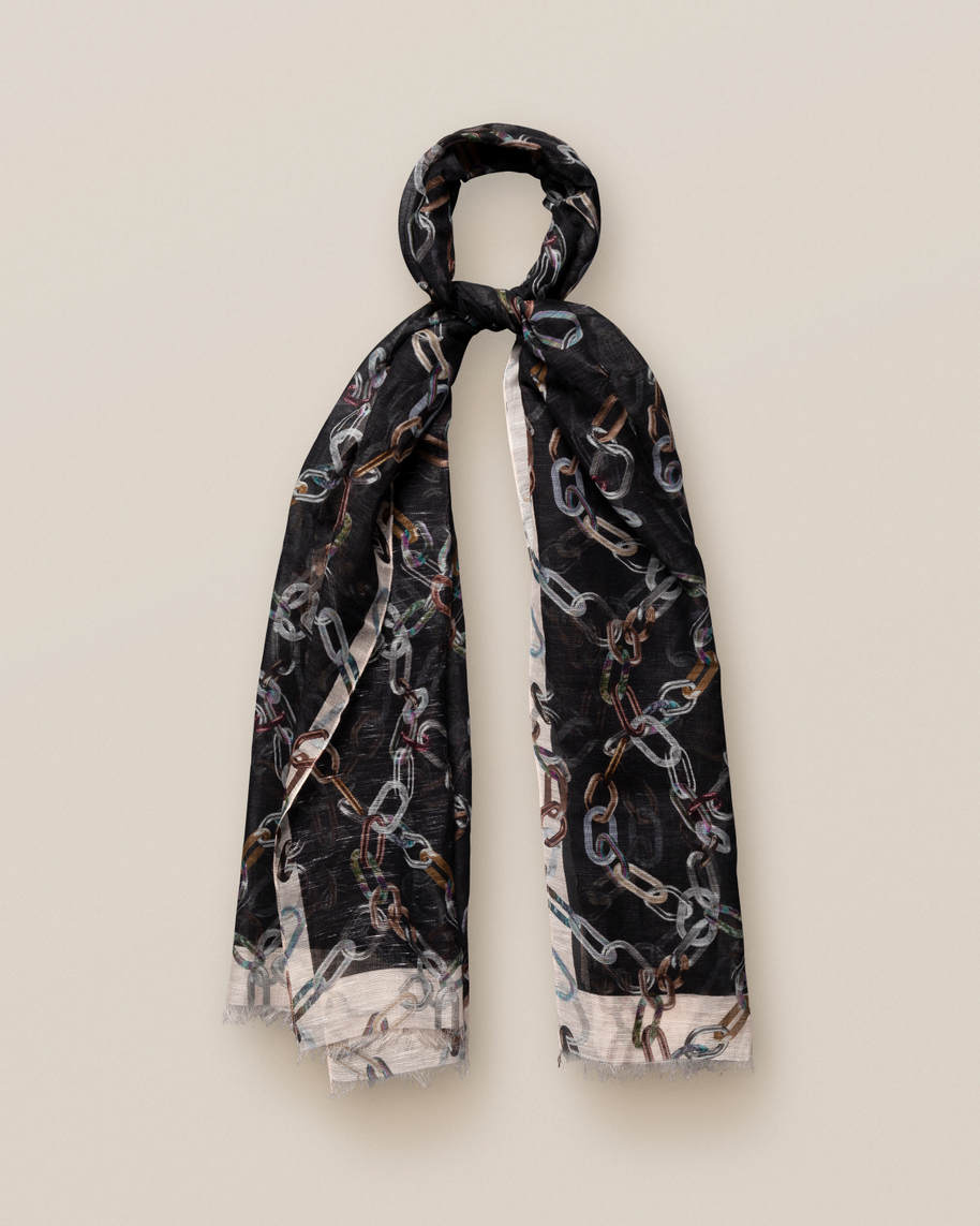 Black Chains Print Cotton-linen  Scarf