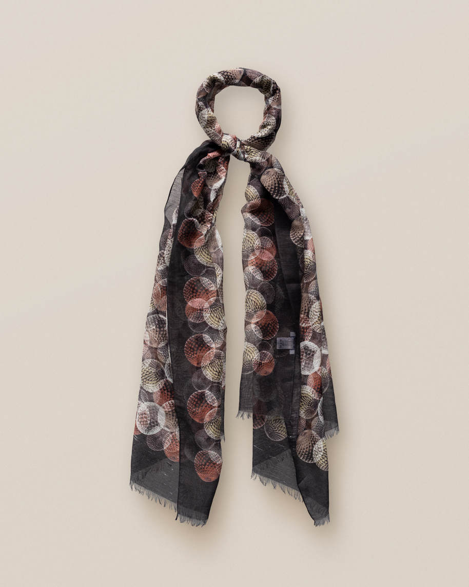 Black Abstract Print Cotton-linen  Scarf