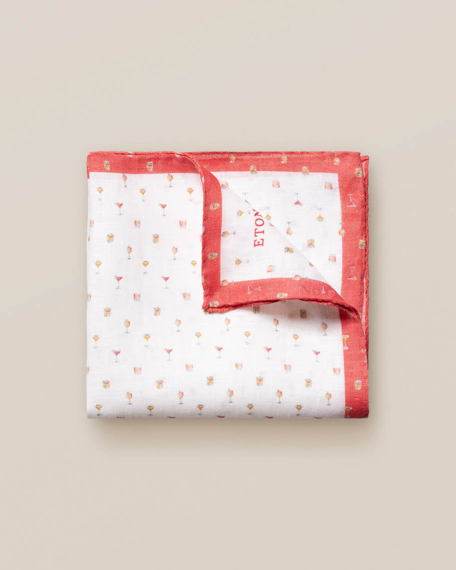 Red Cocktails Print Linen Pocket Square