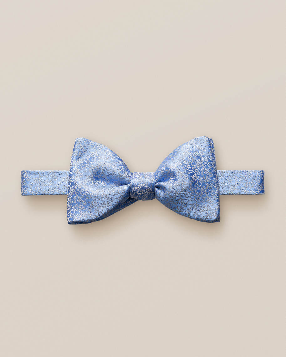 Blue Lustrous Silk Bow Tie – Self Tied