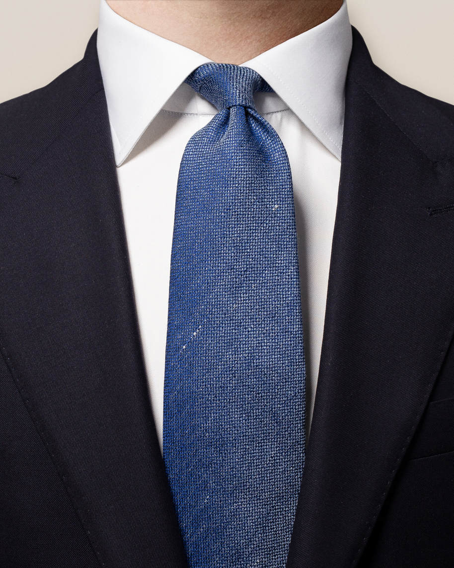 Blue Cotton-linen Tie
