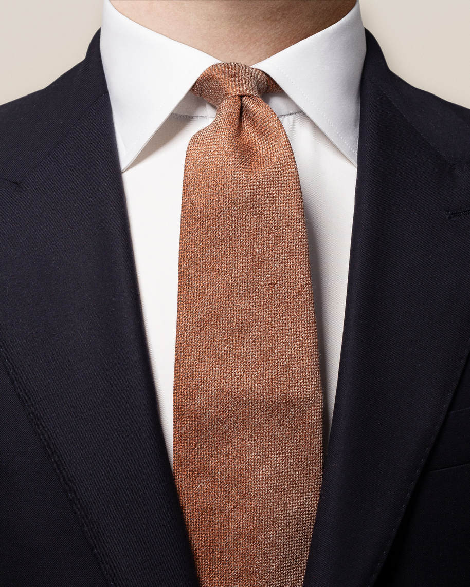 Orange Cotton-linen Tie