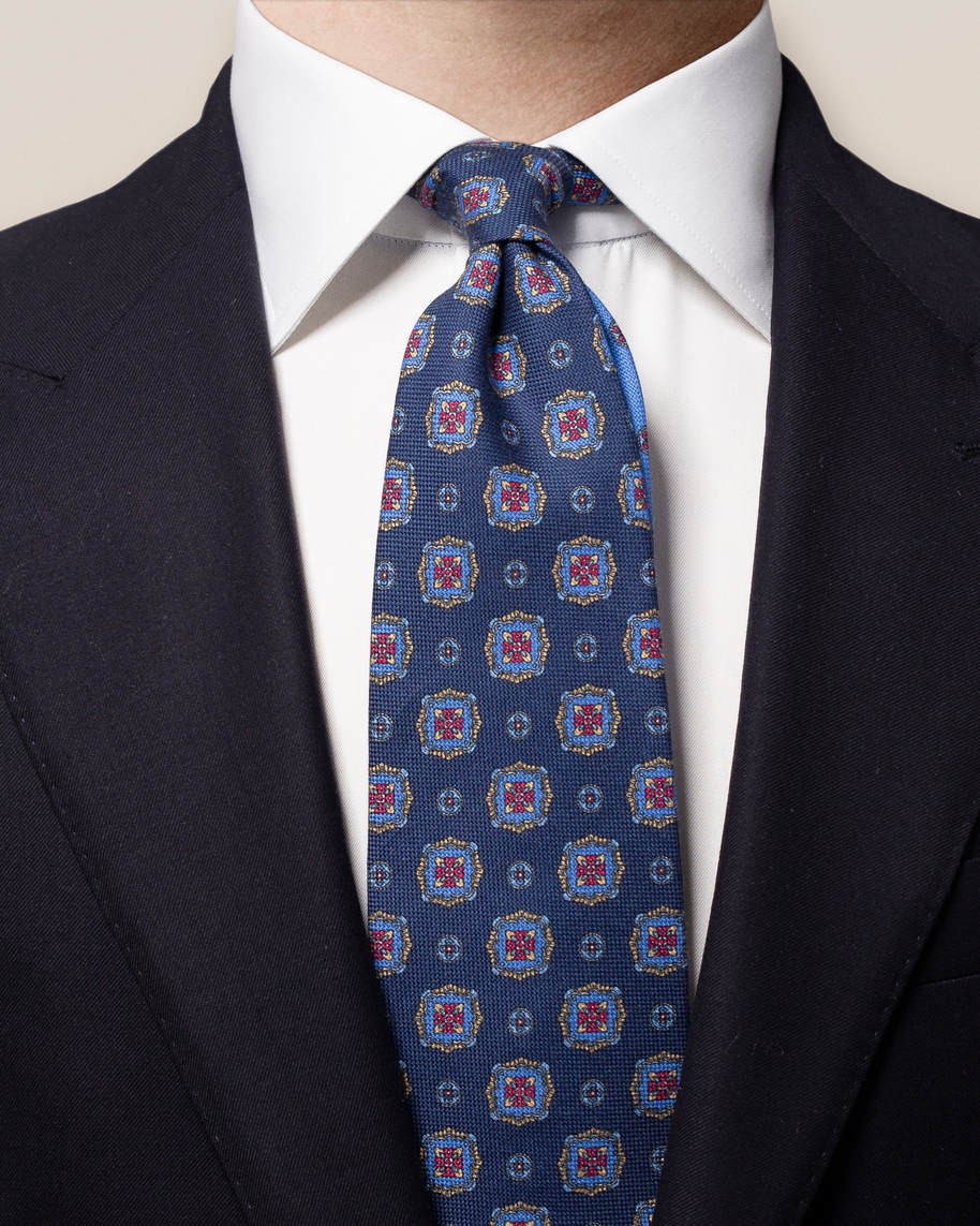 Blue Medallion Print Cotton Tie - image 1