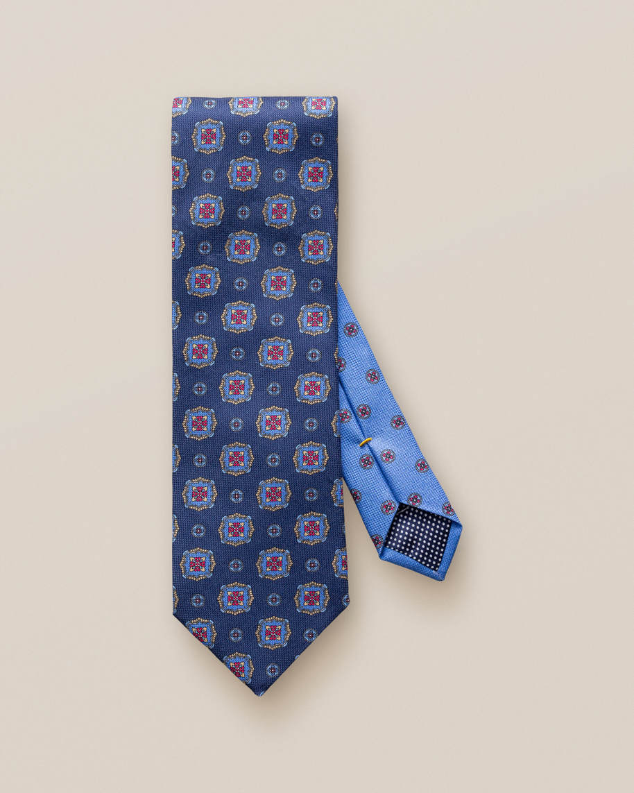 Blue Medallion Print Cotton Tie - image 2