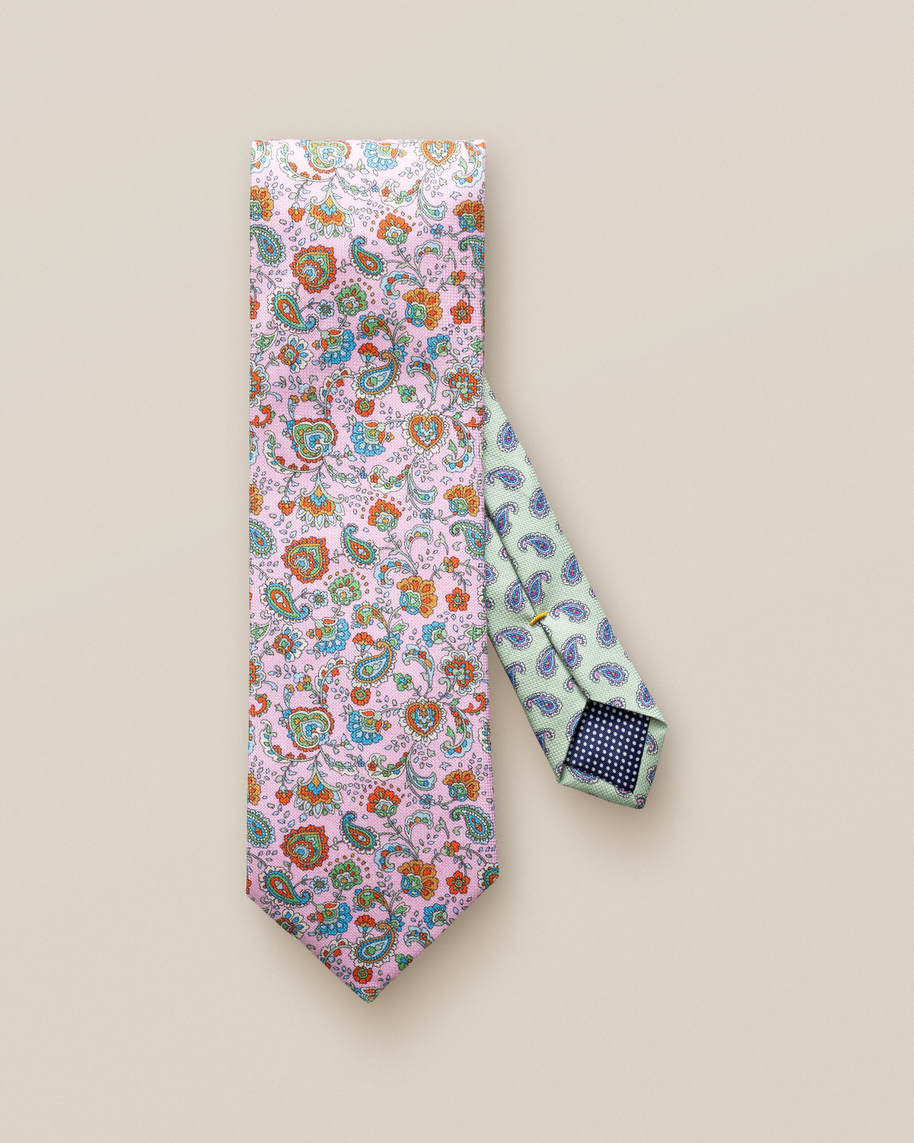 Red Floral Print Cotton Tie - image 2