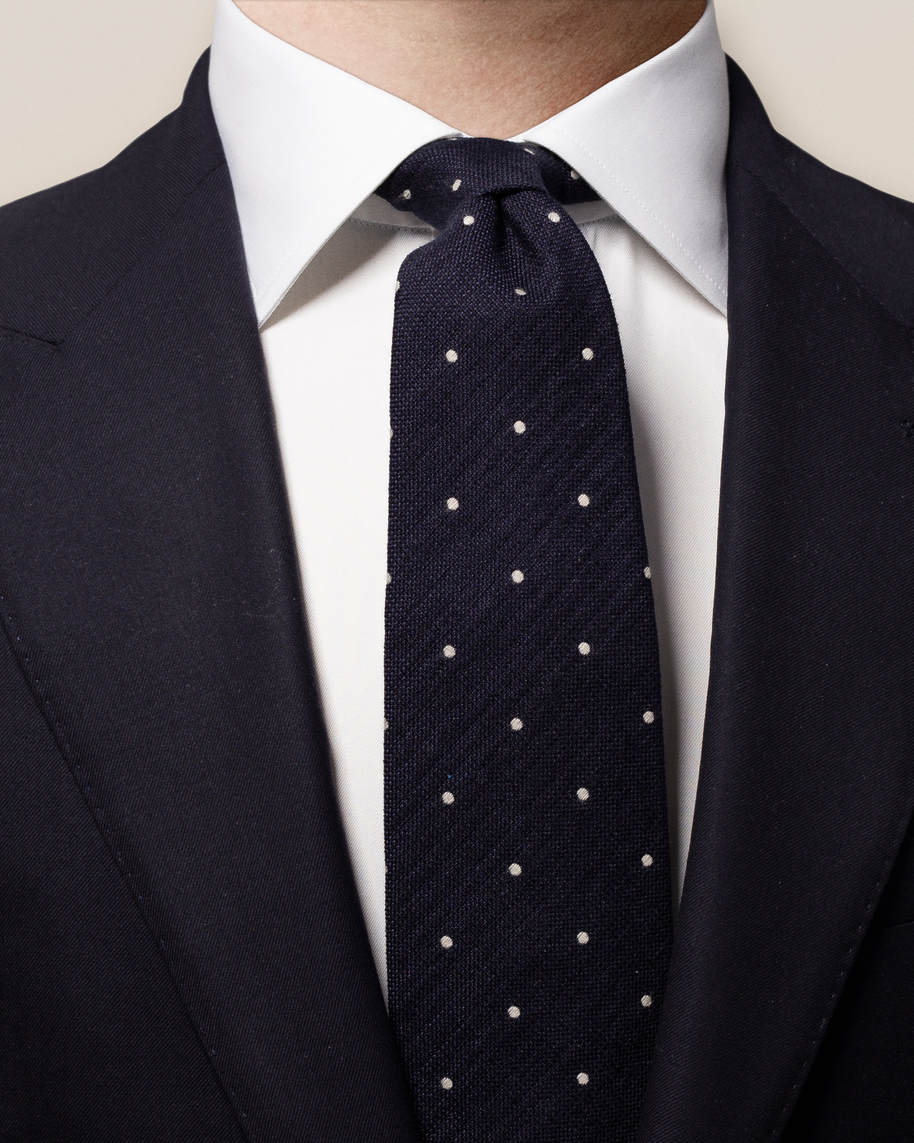 Blue Polka Dot Silk-cotton Tie - image 1
