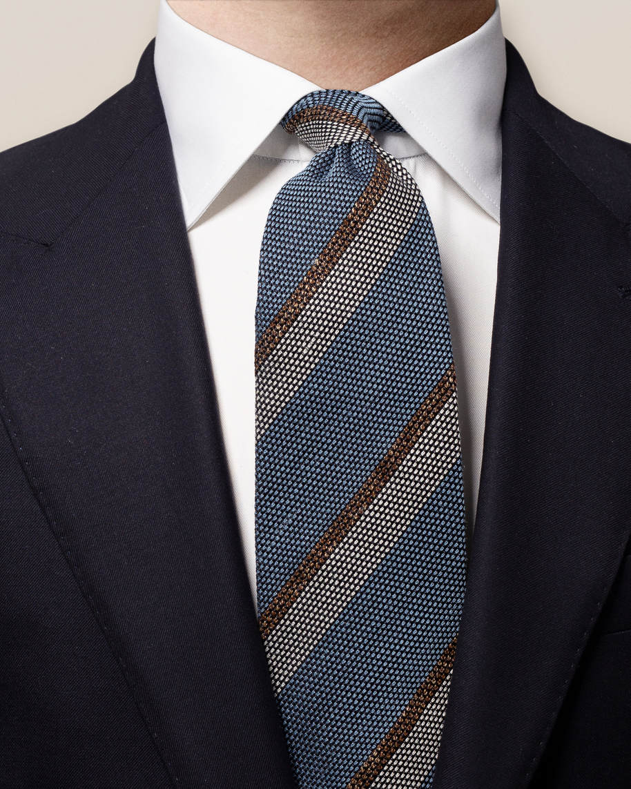 Blue Striped Silk Blend Tie