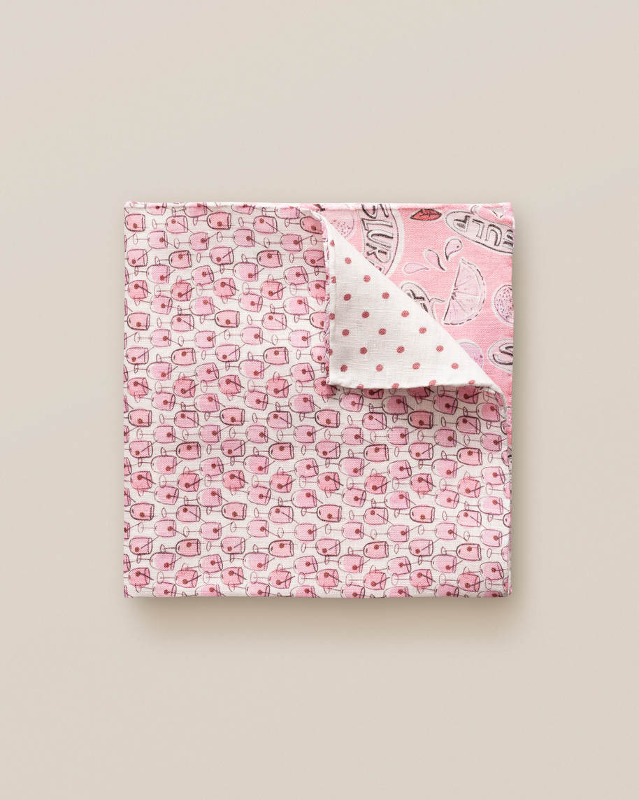 Pink Four Prints Linen Pocket Square