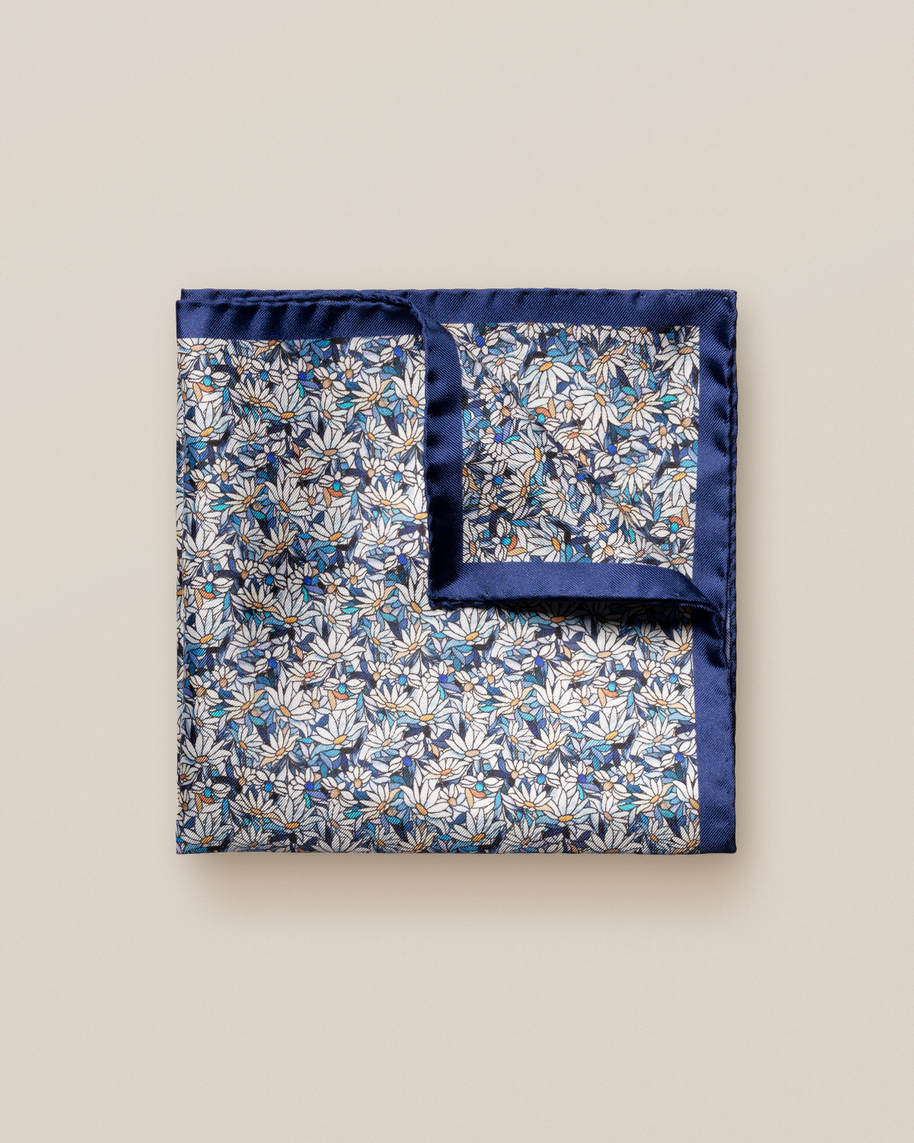 Blue Stained Glass Print Silk Pcket Square