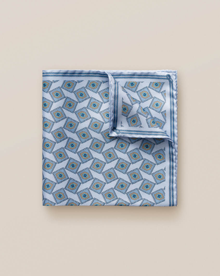 Blue Geometric Print Silk Pocket Square