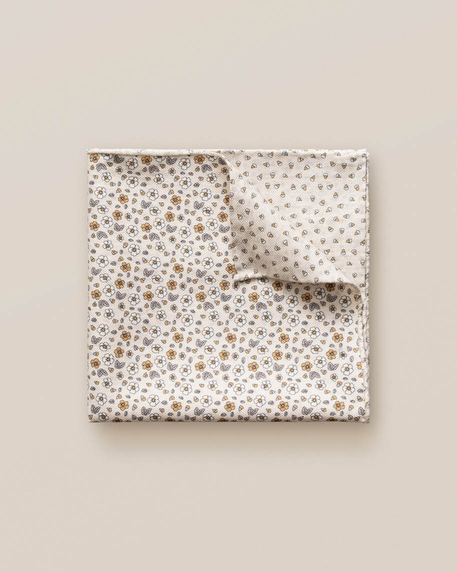 Brown Micro Print Cotton Pocket Square