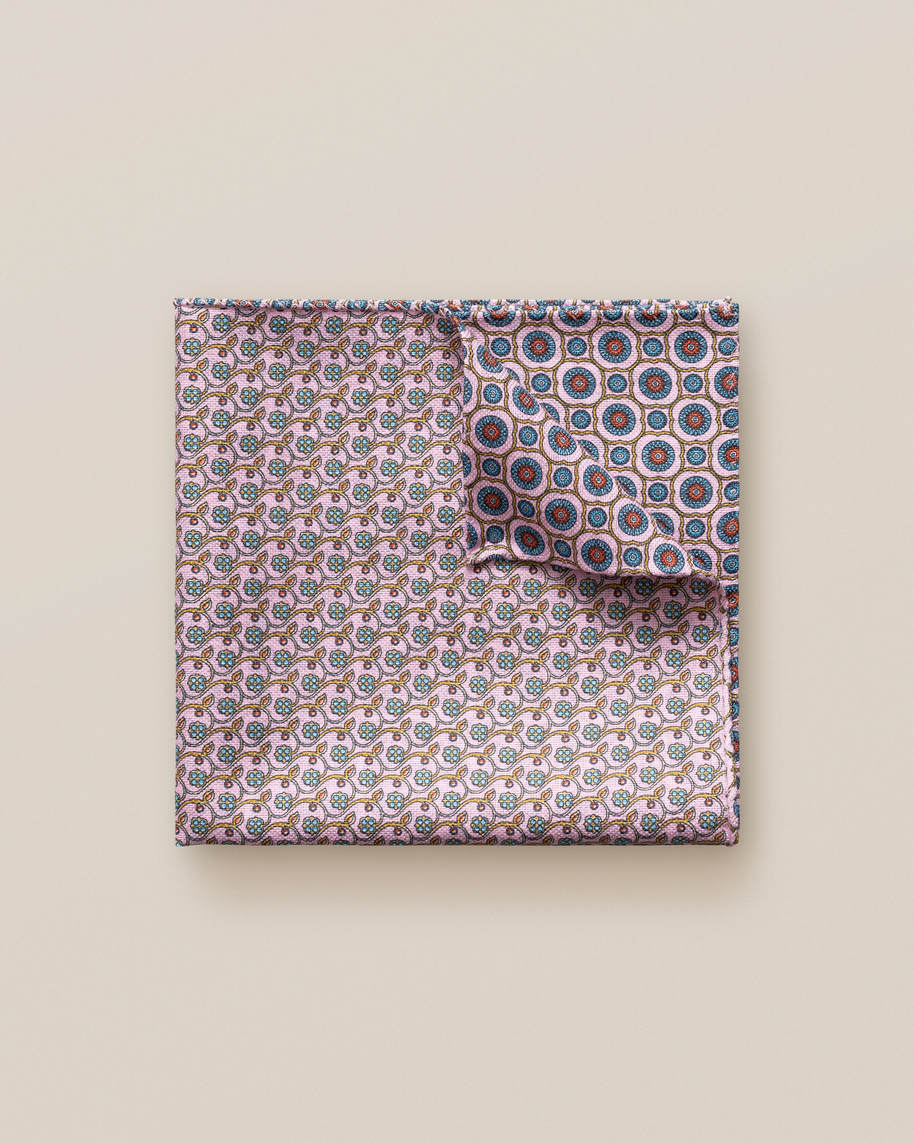 Red Micro Print Cotton Pocket Square