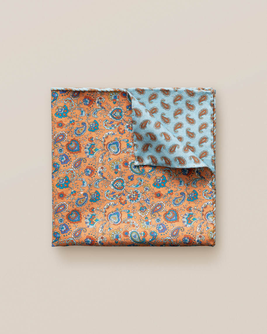 Orange Micro Print Cotton Pocket Square
