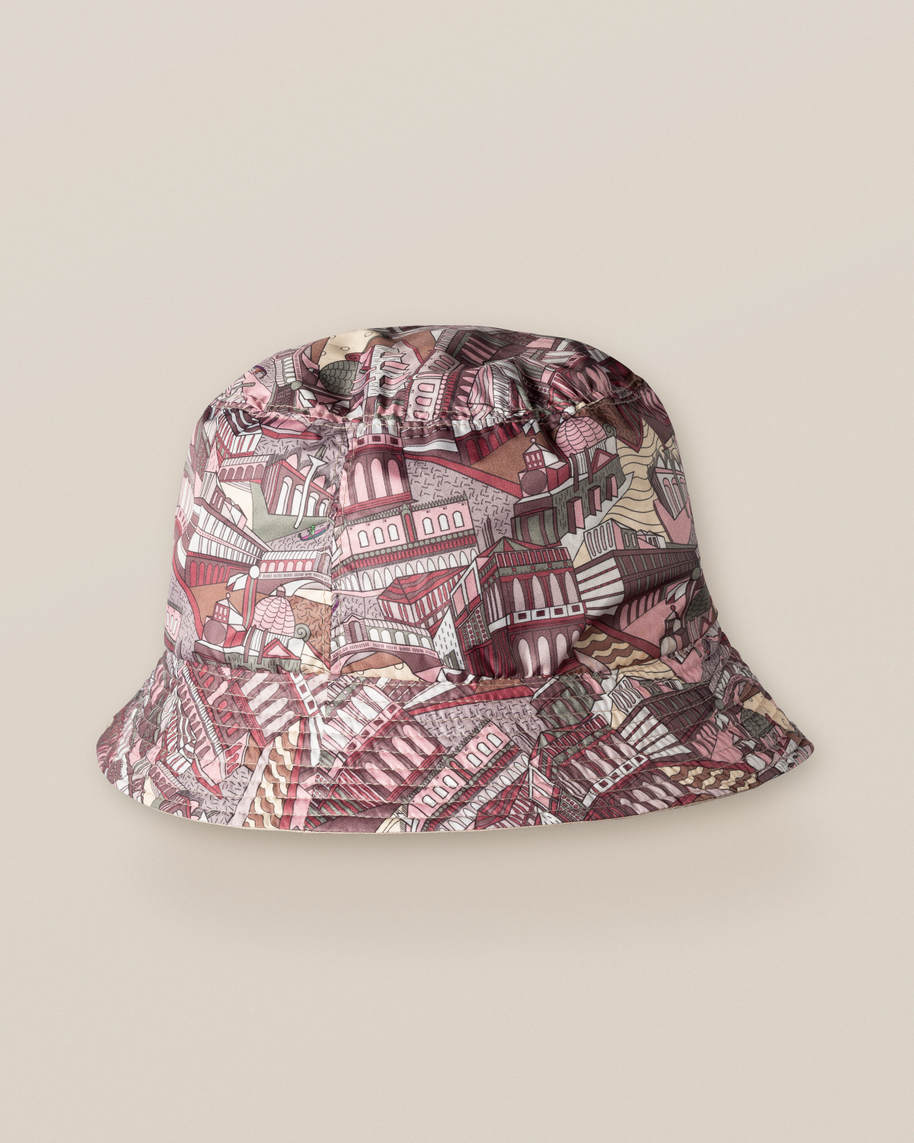 Beige & City Print Reversible Bucket Hat